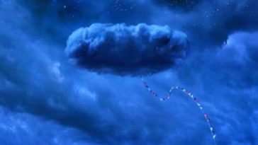 a dark cloud with a trail of colorful flags dangling from it in Nope