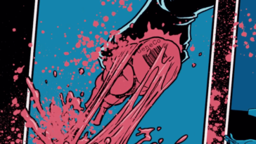 Comic-book style narration of the Repo Man removing an organ with the GeneCo logo stamped on it