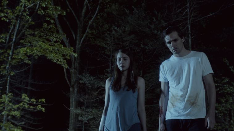 Christine Nyland as Ava and Jacob A. Ware as Jamie in An Unquiet Grave, stunned to think of what they have done