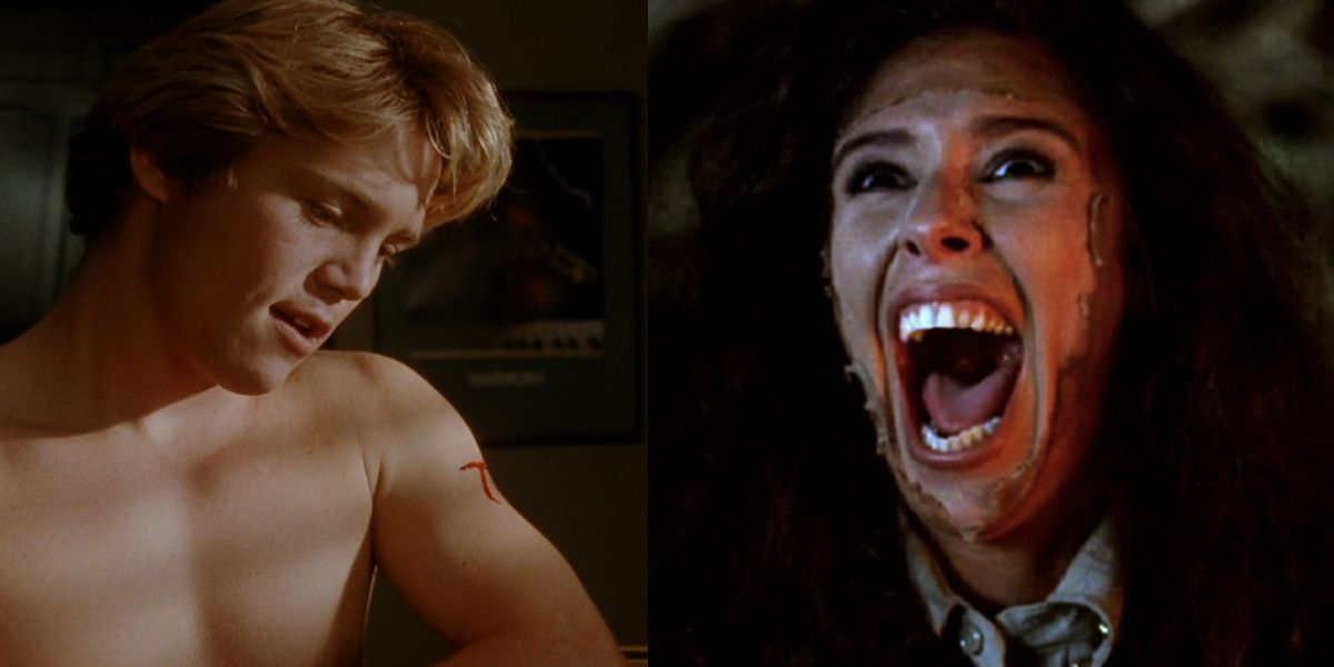 On the left, Brian Krause as Charles Brady in Sleepwalkers, a young, white, blonde boy with a flesh self-administered cut on his upper left arm, sitting shirtless in front of a window. He is illuminated by sunlight peeking through the blinds. On the right, Felissa Rose as Angela Baker in Return to Sleepaway Camp, a tan woman with messy dark hair. Her mouth is opened wide in an exclamation, her face illuminated by fiery light. There is a dark film peeling away from the center of her face.