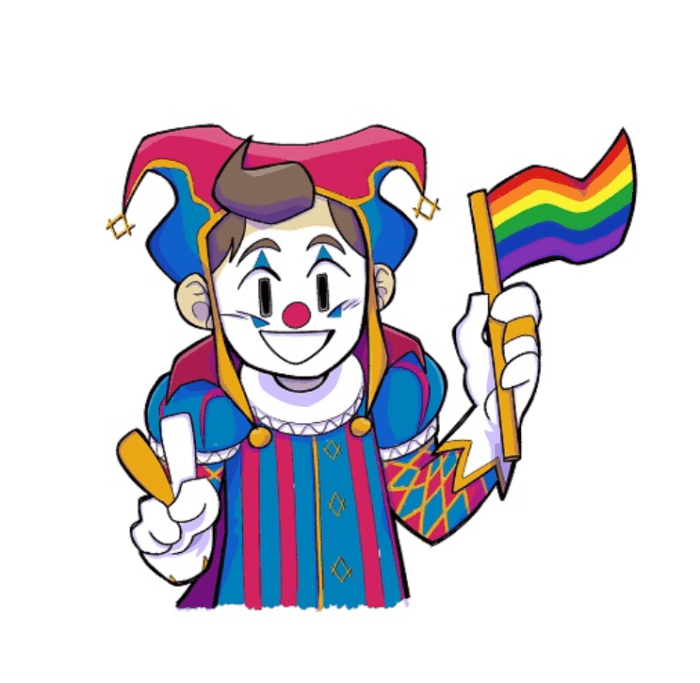 a colourful clown making a peace sign with one hand and holding a rainbow flag with the other