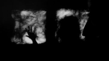 A silhouette of a person stands at a window.