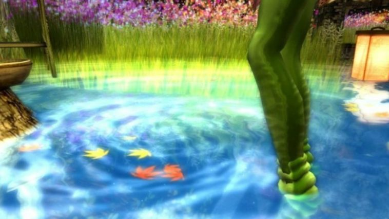 A colorful painting of emerald green legs standing in a bright blue pool of water with a white misty swirl going through it.