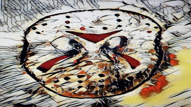 A drawing of Jason's iconic hockey mask