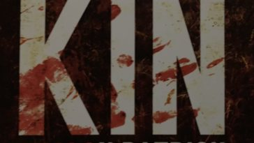 Kin title, with KEalan PAtrick Burke's name under it. The words are blood stained