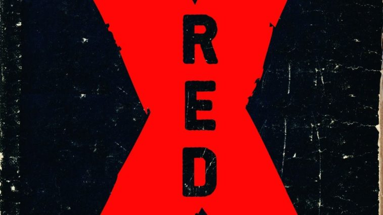 """a faded, torn book cover. a large red X with the word """"red"""" sits in the center."""