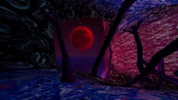 A scene where tentacles come out of the ground and an eerie blood red moon in the sky
