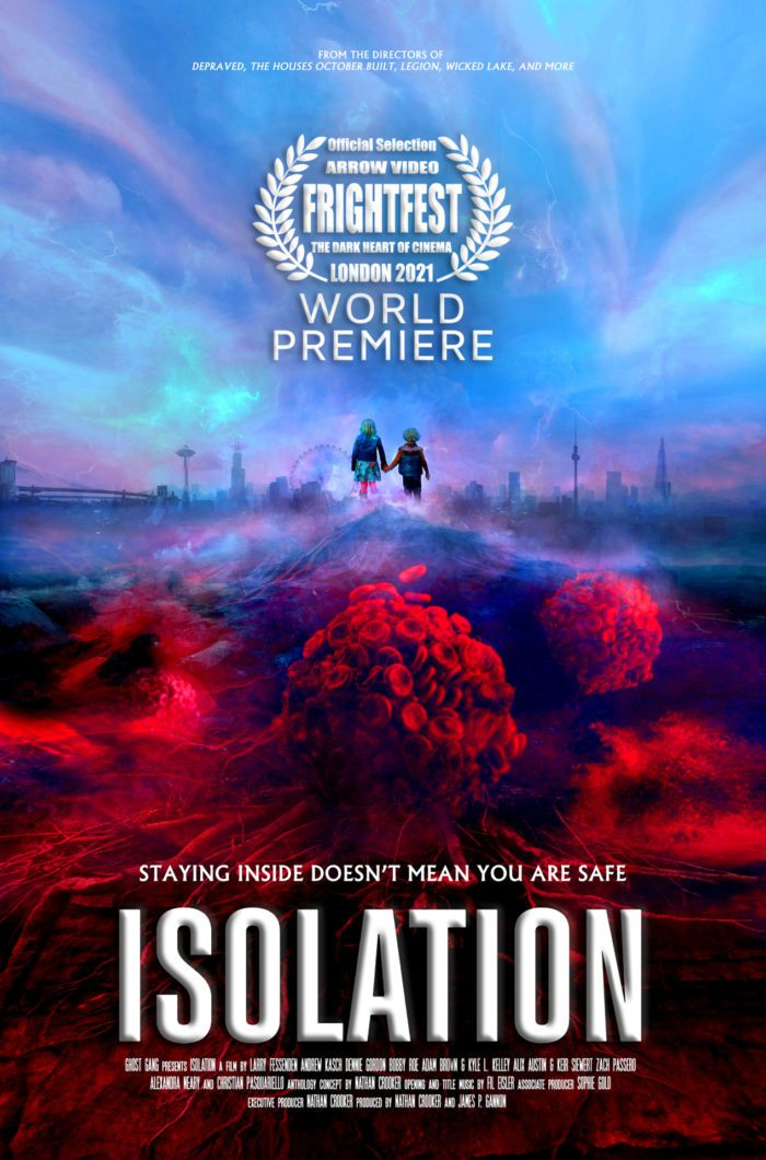 The cover art for Isolation, a hyper stylized disease creeps up on Sunny and Bodhi
