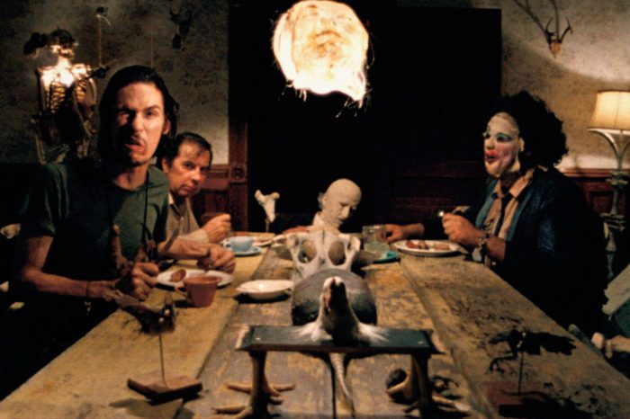 The Final Girl (Sally) comes face to face with the Sawyer family in the iconic dinner scene from The Texas Chain Saw Massacre.