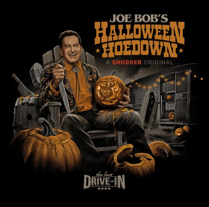 Promotional image for Joe-Bob Brigg's Halloween Hoedown, featuring Joe-Bob sitting in a chair holding a jack-o-lanturn