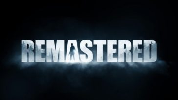 """The word Remastered is white against a black background. The """"A"""" has a figure holding a flashlight"""