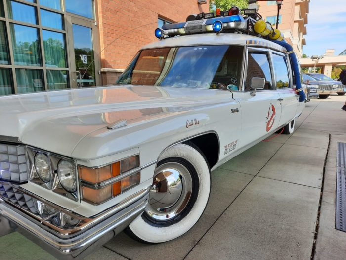 """A Cadillac Hearse is decked out with scientific instruments, sirens, and lights to serve as the Ectomobile from """"Ghostbusters."""""""