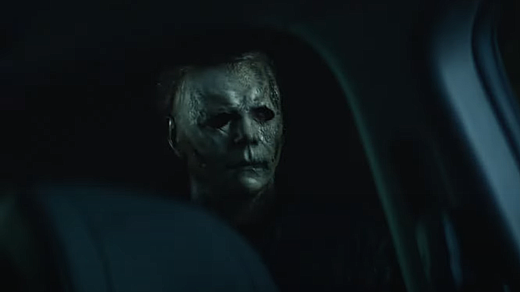 Michael Myers looking through a car window