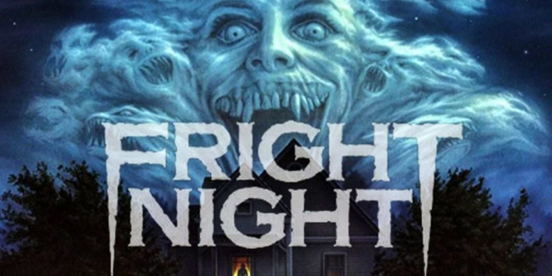 """Close-up of """"Fright Night"""" poster image. Clouds with a toothy grin and other faces hang over an old house with a single light on in the dark."""