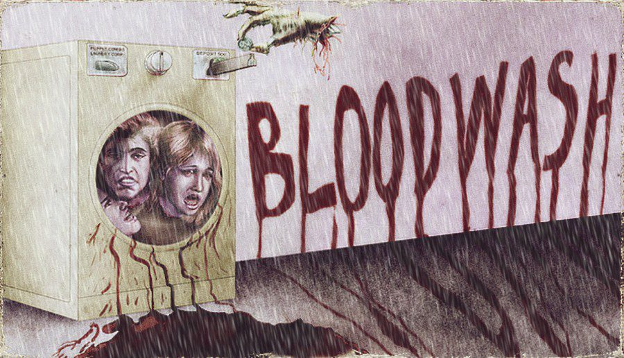 a washing machine full of screaming human heads. the words BLOODWASH are written on the wall in blood