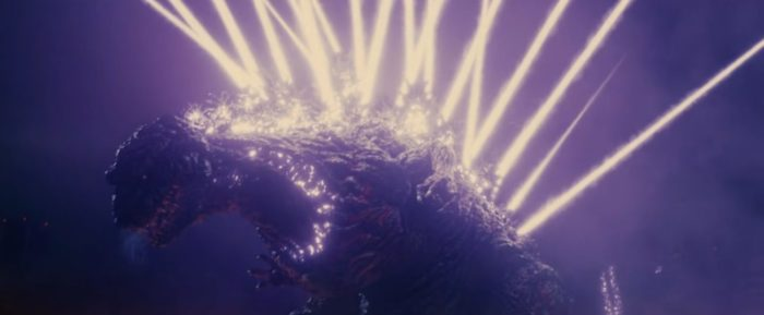 Godzilla shooting atomic breath from his dorsal plates