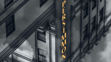 A black and white rendition of a hotel, viewed upside down. The word Persimmon is highlighted in gold lettering