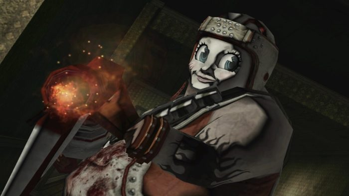 Matt Helms in No More Heroes 2. He's an overweight killer with a creepy doll mask and an axe that shoots fire. He's covered in blood.