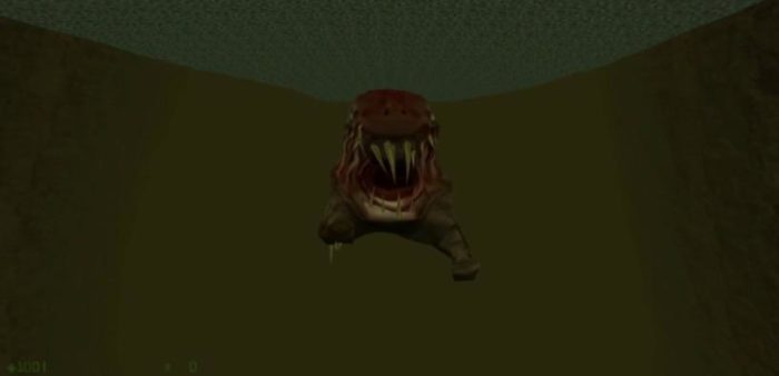A fish monster from Half Life, named the Icthyosaur, swims towards Gordon in a first person perspective. This is terrifying.