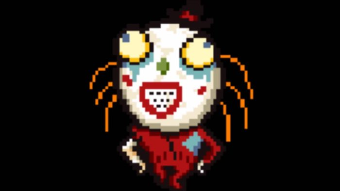 Wally's sprite from LIsa: The Painful RPG. He's a dude in a red mascot uniform and a large, bulbous character helmet.