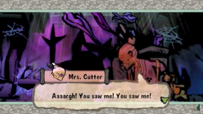 """Cut scene in Okami shows Mrs. Cutter, a terrifying old woman, yelling """"Aaargh! You saw me! You saw me!"""""""
