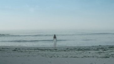 Charlie is at the water's edge on a beach in Alone With You