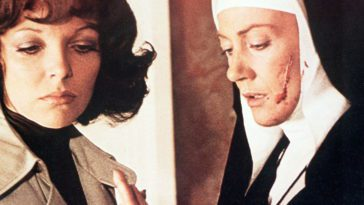 Sister Albana (Eileen Atkins) understands that Lucy's (Joan Collins) baby is possessed