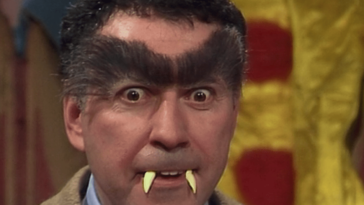 """Alan Arkin gives a menacing face in his """"Hyde"""" form with bushy eyebrows and Muppet fangs, from the TV show, """"The Muppet Show."""""""