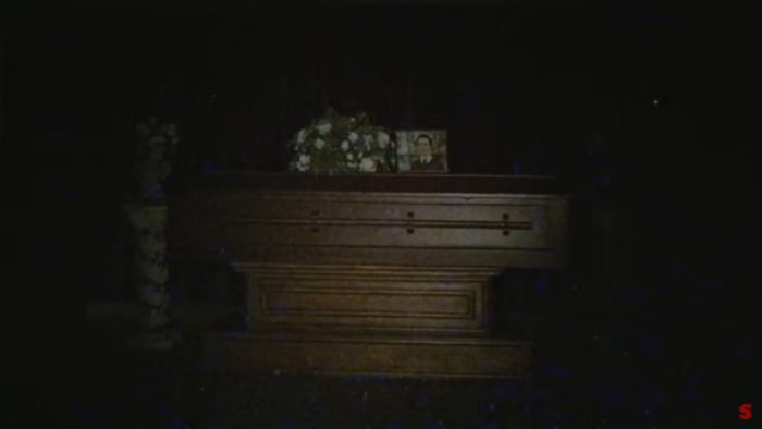 The coffin sits there moments before it goes bump in the night