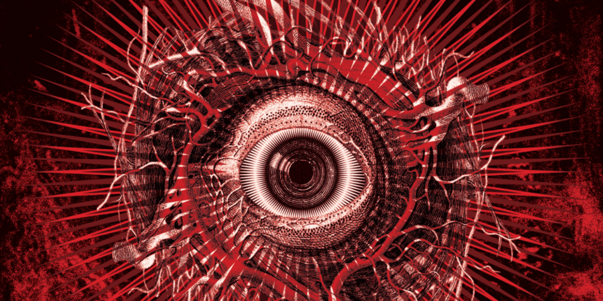 a large, red, distorted eye sorrounded by swirls and spikes