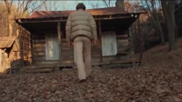 """A man approaches the cabin at the beginning of """"The Evil Dead."""""""