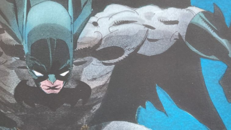 batman swoops from the sky in a close up of the cover for Batman: The Long Halloween