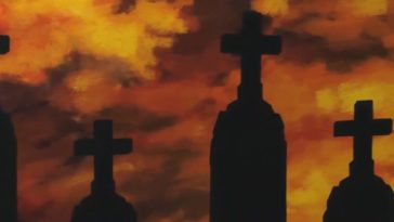 Silhouettes of tombstones stand against an evil-looking fiery orange sky.
